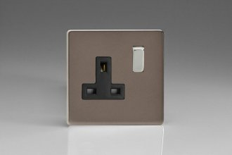 Varilight 1 Gang 13 Amp Double Pole Switched Socket Screwless Pewter Effect Finish