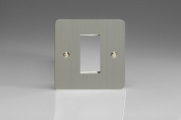 Varilight 1 Gang Data Grid Face Plate For 1 Data Module Width Ultra Flat Brushed Steel