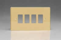 Varilight 4 Gang Power Grid Faceplate Including Power Grid Frame Dimension Polished Brass