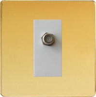 Varilight 1 Gang White Satellite TV Socket Screwless Polished Brass