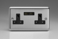 CLEARANCE XS5U2B Varilight 2 Gang, 13 Amp Unswitched Socket with 2 USB Charging Ports, Black Insert. Classic Brushed Steel