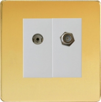 Varilight 2 Gang Comprising of White Co-axial TV and Satellite TV Socket Screwless Polished Brass