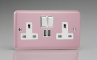 Varilight 2 Gang 13 Amp Single Pole Switched Socket with 2 x 5V DC 2.1 Amp USB Charging Ports Classic Lily Rose Pink