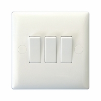 Varilight 3 Gang 10 Amp Switch Classic Polar White Moulded Bevel