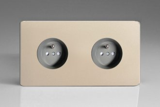 Varilight Euro Fixed Range 2 Gang 16 Amp Euro (Pin Earth) Flush Design Socket European Screwless Satin Chrome Effect Finish