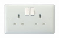 Varilight 2 Gang 13 Amp Double Pole Switched Socket Classic Polar White Moulded Bevel