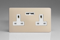 Varilight 2 Gang 13 Amp Single Pole Unswitched Socket with 2 Optimised USB Charging Ports Screwless Satin Chrome