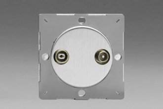 Z1EGRTV2S-P Varilight European VariGrid 2 Gang Radio and TV Termination Socket, for use with VariGrid Single, Double and Triple Faceplates