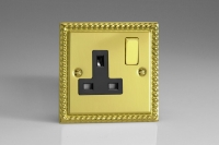 Varilight 1 Gang 13 Amp Double Pole Switched Socket Classic Georgian Brass