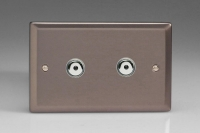 Varilight V-Plus IR Series 2 Gang 40-600 Watt Touch and Remote Dimmer Pewter