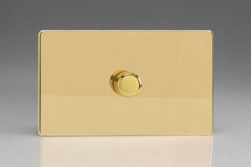 Varilight V-Dim Safety Series 1 Gang 200-1000 Watt Dimmer Screwless Polished Brass Coated