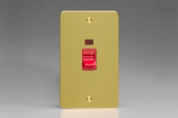 Varilight 45 Amp Double Pole Vertical Cooker Switch with Neon Ultra Flat Brushed Brass