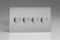 Varilight V-Com Series 4 Gang 15-180 Watt Leading Edge LED Dimmer Screwless Brushed Steel