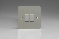 Varilight 2 Gang 10 Amp Switch Ultra Flat Brushed Steel
