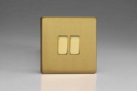 Varilight 2 Gang Comprising of 2 Intermediate (3 Way) 10 Amp Switch Screwless Brushed Brass