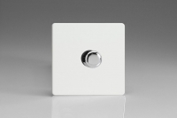 Varilight Euro Fixed Range V-Pro Series 1 Gang 0-120 Watt Trailing Edge Dimmer for LEDs European Screwless Premium White