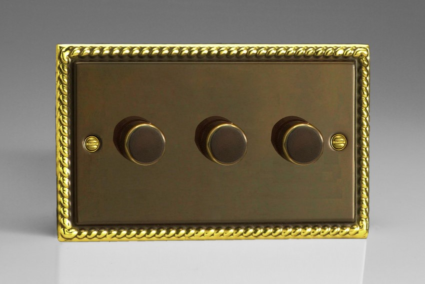 HA43 Varilight V-Dim Series 3 Gang, 1 or 2 Way 3x250 Watt Dimmer, Classic Antique Georgian