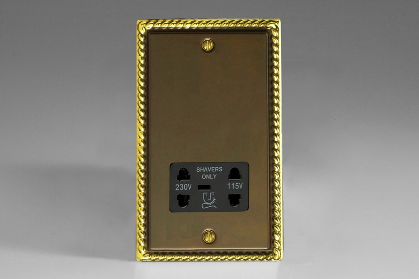 XASSB Varilight Dual Voltage Shaver Socket, Classic Antique