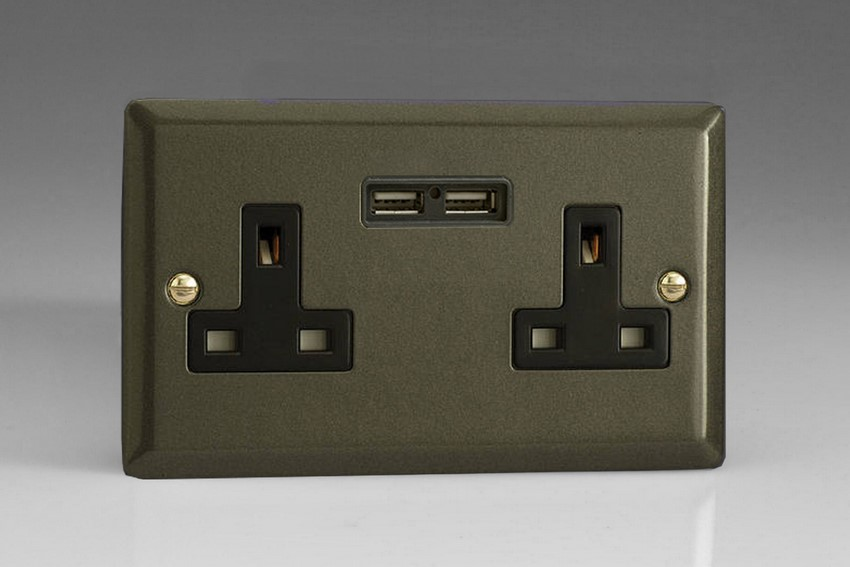 XP5U2B Varilight 2 Gang, 13 Amp Unswitched Socket with 2 Optimised USB Charging Ports, Black Insert. Classic Graphite 21