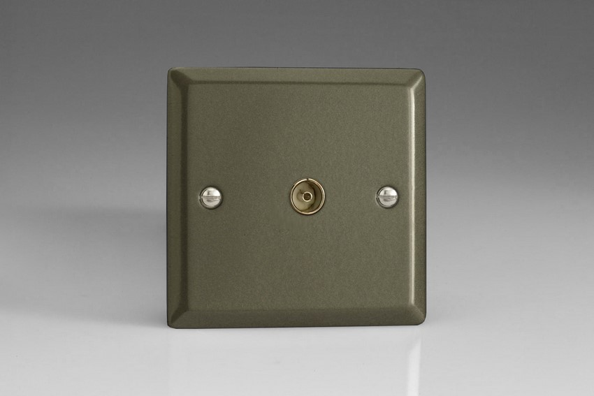 XP8 Varilight 1 Gang (Single), Co-axial TV Socket, Classic Graphite 21