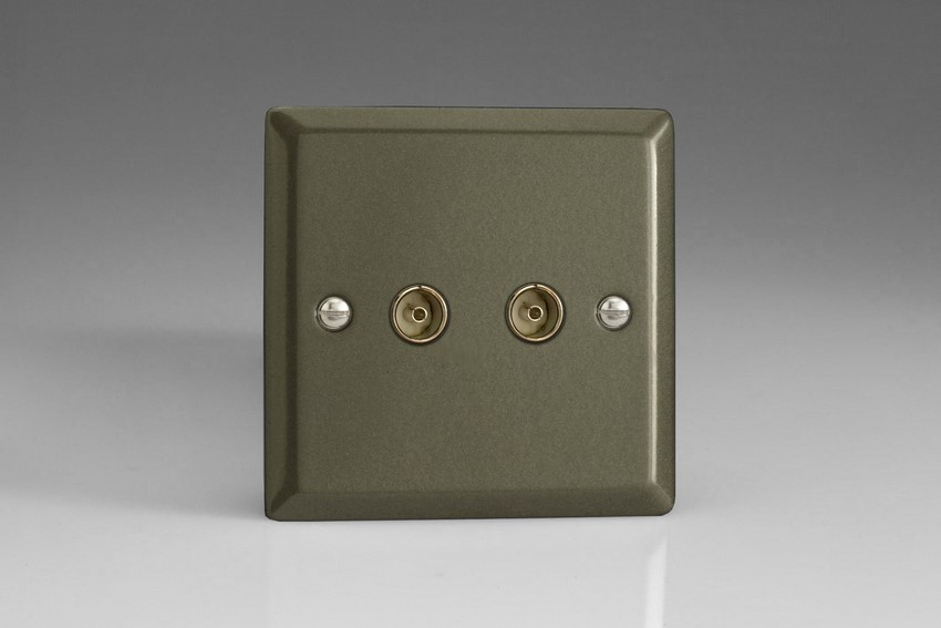 XP88 Varilight 2 Gang (Double), Co-axial TV Socket, Classic Graphite 21