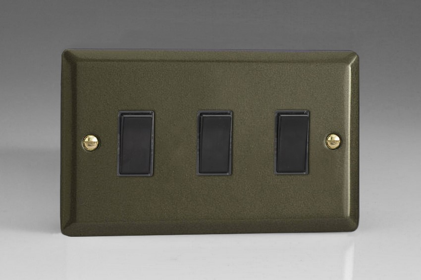 XP93B Varilight 3 Gang (Triple), 1or 2 Way 10 Amp Switch, Classic Graphite 21 (Double Plate)