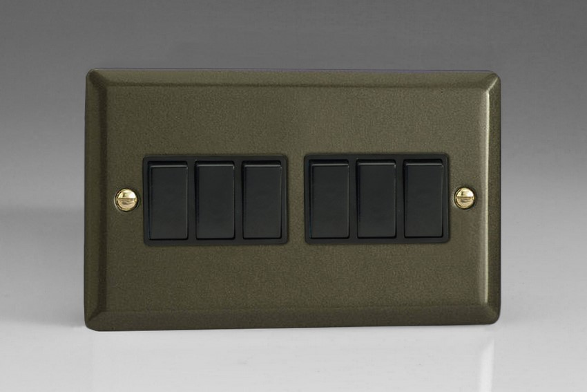 XP96B Varilight 6 Gang 1or 2 Way 10 Amp Switch, Classic Graphite 21 (Double Plate)