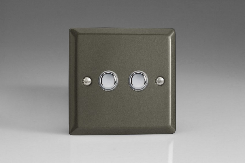 XPP2 Varilight 2 Gang (Double) 1 or 2 way 6 Amp Push-on Push-off Switch (impulse), Classic Graphite 21