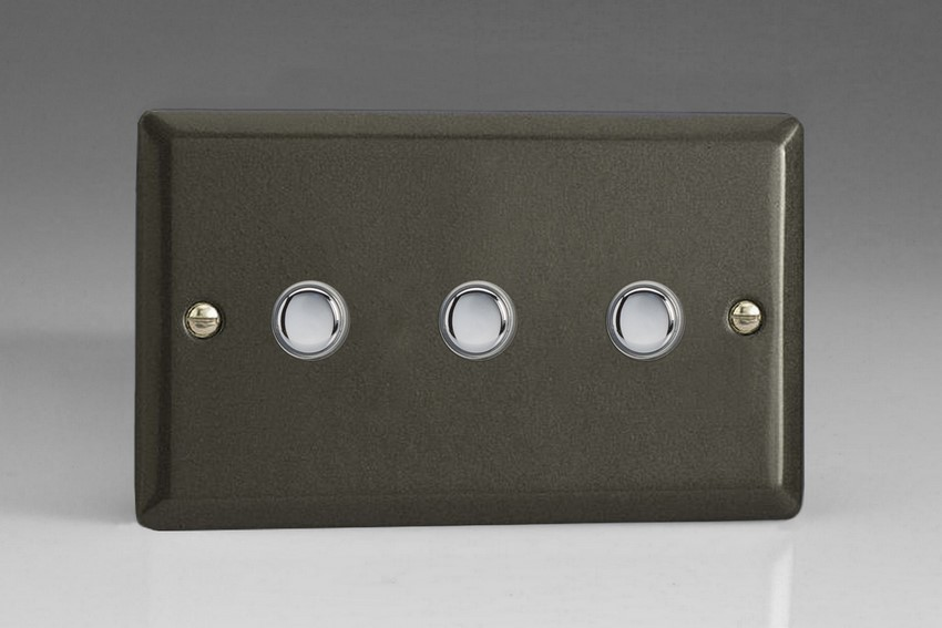 XPP3 Varilight 3 Gang (Triple) 1 or 2 way 6 Amp Push-on Push-off Switch (impulse), Classic Graphite 21