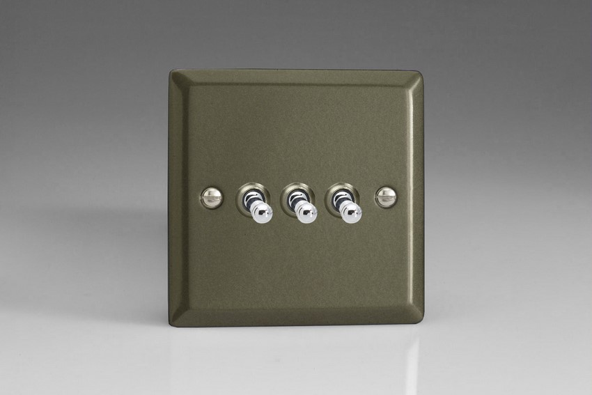 XPT3 Varilight 3 Gang (Triple), 1 or 2 Way 10 Amp Classic Toggle Switch, Classic Graphite 21