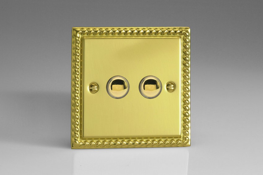 IJGS002 Varilight V-Pro IR Series, 2 Gang Tactile Touch Button Slave Unit for 2 way or Multi-way Circuits Only, Classic Georgian Polished Brass Effect