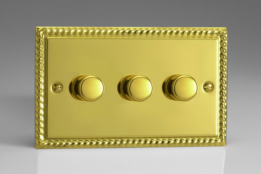 JGDP503 Varilight V-Pro Series 3-Gang 2-Way Push-On/Off Rotary LED Dimmer 3 x 10-250W (Max 30 LEDs) (Twin Plate), Classic Georgian Polished Brass Effect