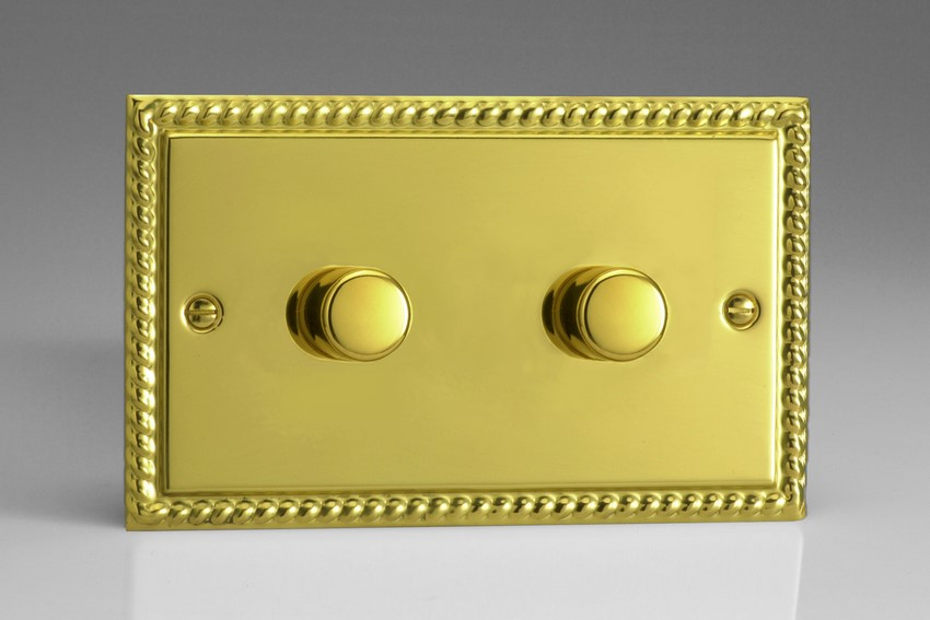 JGDP602 Varilight V-Pro Series 2-Gang 2-Way Push-On/Off Rotary LED Dimmer 2 x 10-300W (Max 30 LEDs) (Twin Plate), Classic Georgian Polished Brass Effect (Double Plate)