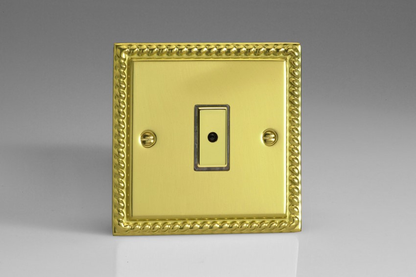 JGE101 - Varilight V-Pro Series Eclique2, 1 gang Intelligent Programmable Master Dimmer, with Tactile Touch Button and Integrated Remote Control Sensor 0-100 Watts of LEDs (10 LEDs Max), Classic Georgian Polished Brass Effect