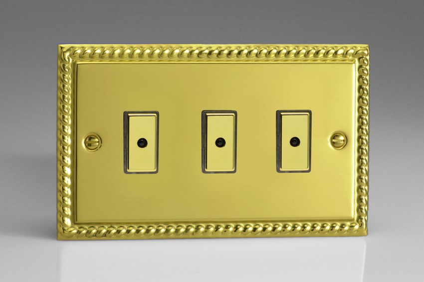 JGE103 - Varilight V-Pro Series Eclique2, 3 gang Intelligent Programmable Master Dimmer, with Tactile Touch Button and Integrated Remote Control Sensor 0-100 Watts of LEDs (10 LEDs Max), Classic Georgian Polished Brass Effect