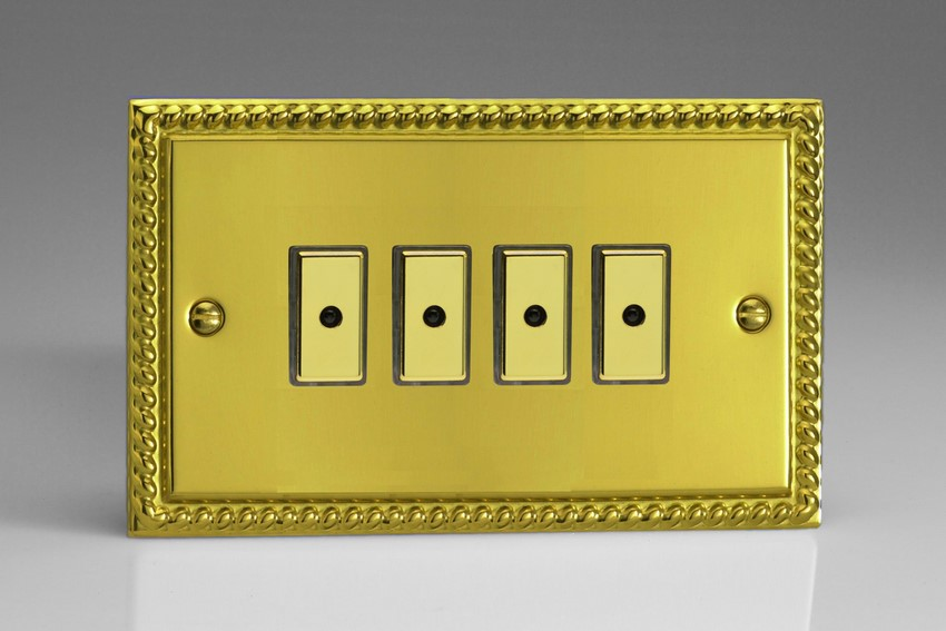 JGE104 Varilight V-Pro Series Eclique2, 4 gang Intelligent Programmable Master Dimmer, with Tactile Touch Button and Integrated Remote Control Sensor 0-100 Watts of LEDs (10 LEDs Max), Classic Georgian Polished Brass Effect