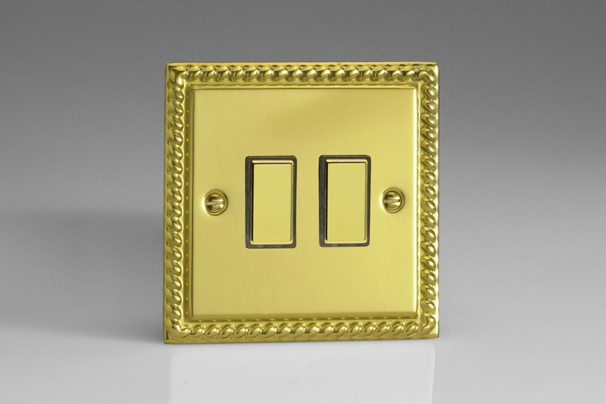 JGES002 Varilight V-Pro Series Eclique2, 2 Gang Tactile Touch Button Slave Unit for 2 way or Multi-way Circuits Only, Classic Georgian Polished Brass Effect