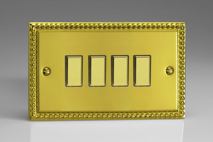 JGES004 Varilight V-Pro Series Eclique2 (Multi Point Remote), 4 Gang Tactile Touch Button Slave Unit for 2 way or Multi-way Circuits Only, Classic Georgian Polished Brass Effect