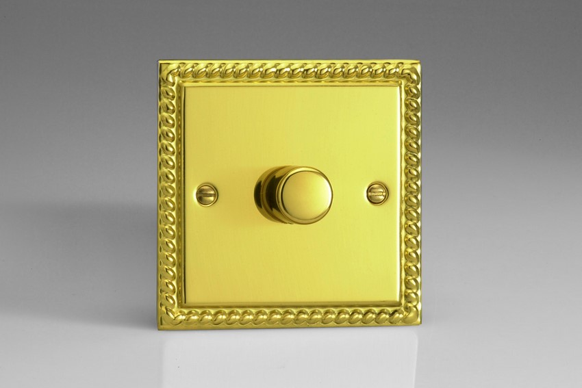JGP601 Varilight V-Pro Series 1-Gang 2-Way Push-On/Off Rotary LED Dimmer 1 x 10-300W (Max 30 LEDs), Classic Georgian Polished Brass Effect