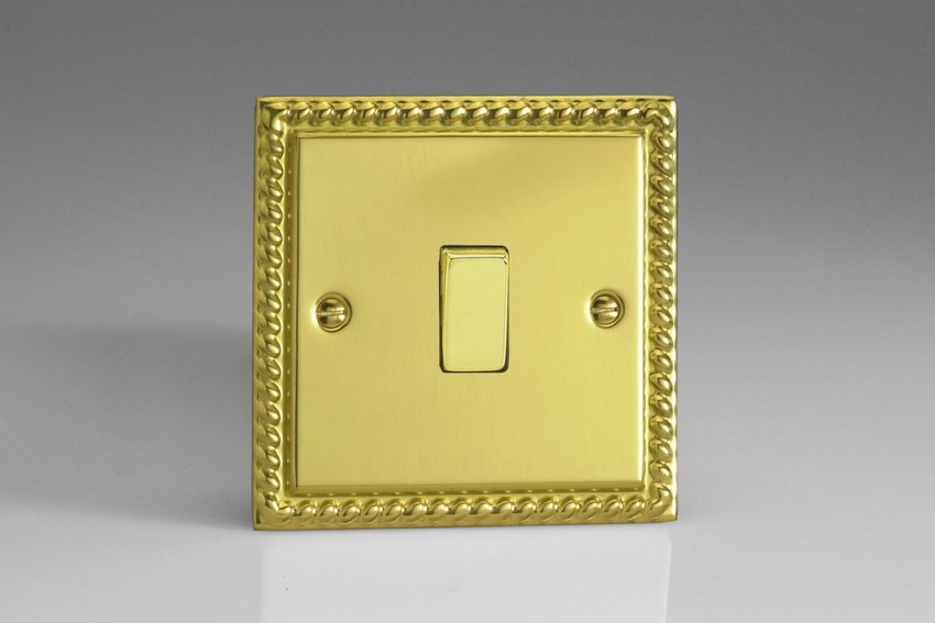 XG20D Varilight 1 Gang, 1 Way 20 Amp Switch, Classic Georgian Polished Brass Effect