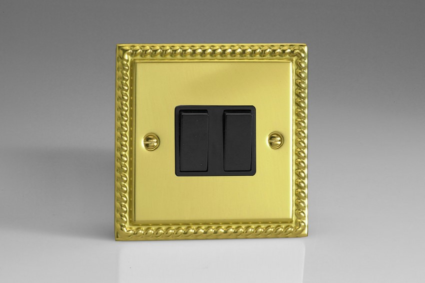 XG2B Varilight 2 Gang, 1 or 2 Way 10 Amp Switch, Classic Georgian Polished Brass Effect