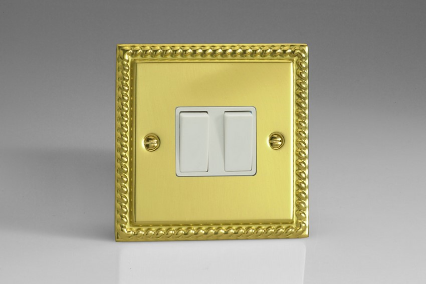 XG2W Varilight 2 Gang, 1 or 2 Way 10 Amp Switch, Classic Georgian Polished Brass Effect