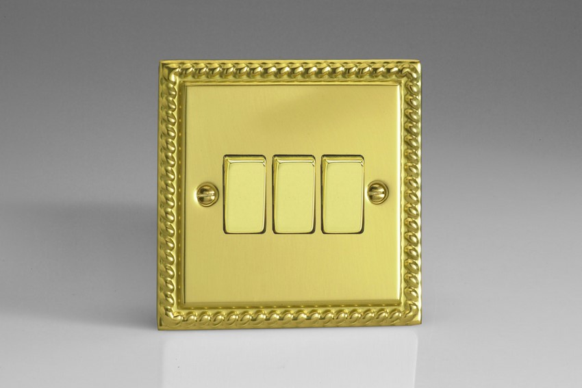 XG3D Varilight 3 Gang, 1 or 2 Way 10 Amp Switch, Classic Georgian Polished Brass Effect