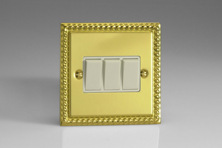 XG3W Varilight 3 Gang, 1 or 2 Way 10 Amp Switch, Classic Georgian Polished Brass Effect