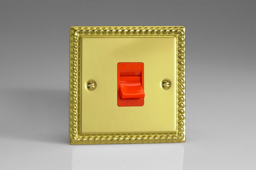 XG45SB Varilight 45 Amp Cooker Switch, Classic Georgian Polished Brass Effect