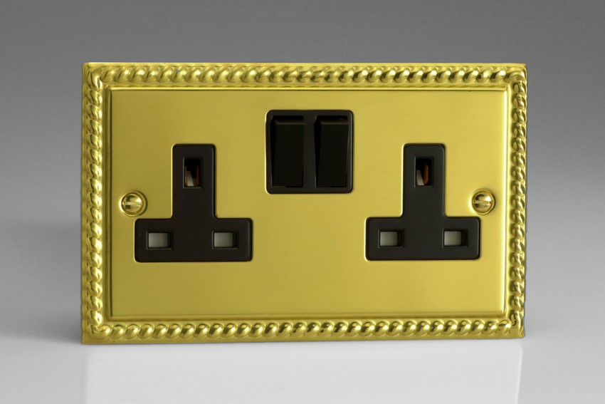 XG5B Varilight 2 Gang, 13 Amp Switched Socket, Classic Georgian Polished Brass Effect