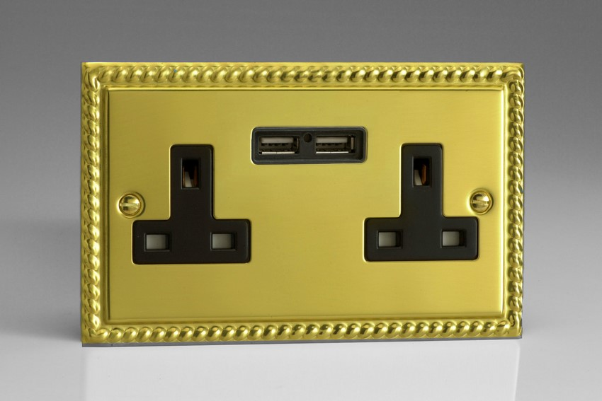 XG5U2B Varilight 2 Gang, 13 Amp Unswitched Socket with 2 Optimised USB Charging Ports, Black Insert. Classic Georgian Polished Brass Effect
