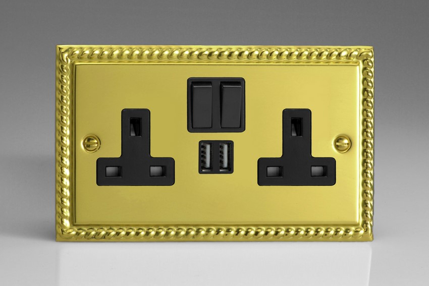 XG5U2SB Varilight 2 Gang 13A Single Pole Switched Socket + 2 x 5V DC 2100mA USB Charging Ports, Black Insert & Switches. Classic Georgian Polished Brass Effect