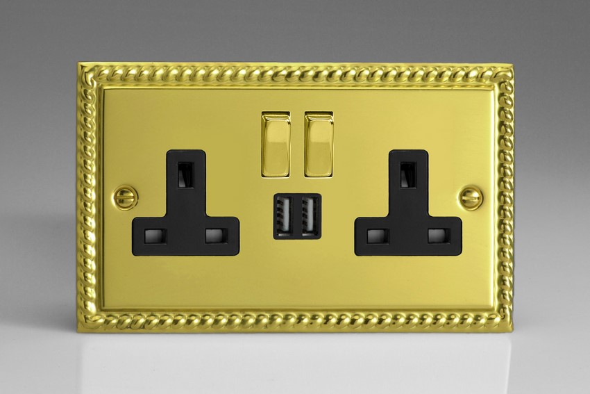 XG5U2SDB Varilight 2 Gang 13A Single Pole Switched Socket + 2 x 5V DC 2100mA USB Charging Ports, Black Insert & Polished Brass Switches. Classic Georgian Polished Brass Effect