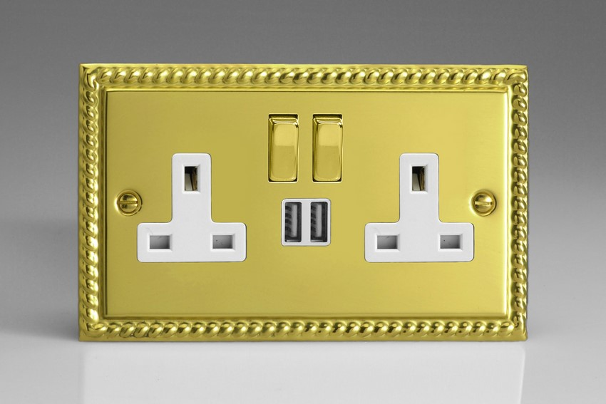 XG5U2SDW Varilight 2 Gang 13A Single Pole Switched Socket + 2 x 5V DC 2100mA USB Charging Ports, White Insert & Polished Brass Switches. Classic Georgian Polished Brass Effect